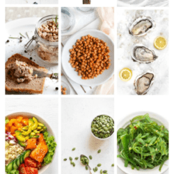 Collage of foods with key nutrients for thyroid health and title text overlay