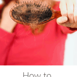Collage of woman holding brush with hair that fell out and post title text