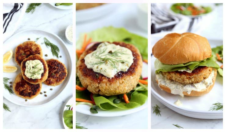 Collage of 3 ways to serve salmon burgers - alone, on a salad, or on a bun