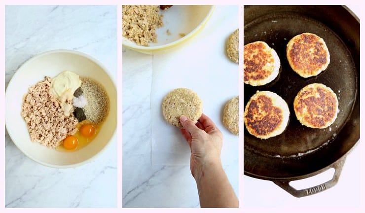 collage of first three steps of making easy salmon burgers