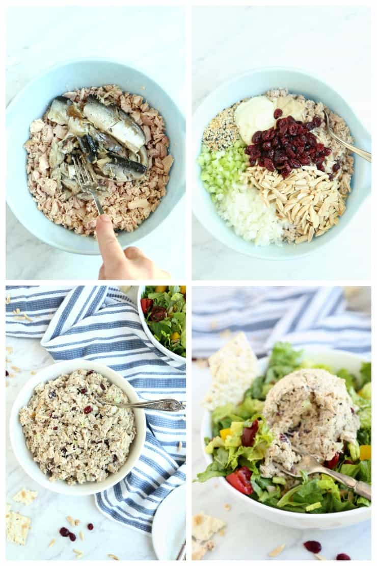 Collage of how to make Magic Everything Tuna Salad in 4 simple steps
