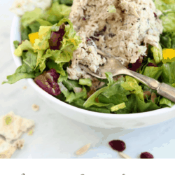 Collage of up close image of Magic Everything Tuna Salad on a bed of salad with title text overlay