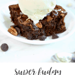collage of close up image of super fudgy flourless brownie topped with ice cream, plus post title text overlay