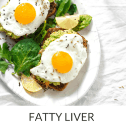 Collage image of egg and avocado toast and wilted greens on white plate with title text overlay