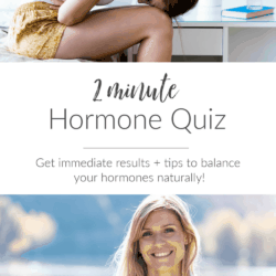 collage - Images of women with hormone imbalance and text overlay: 2 minute Hormone Quiz