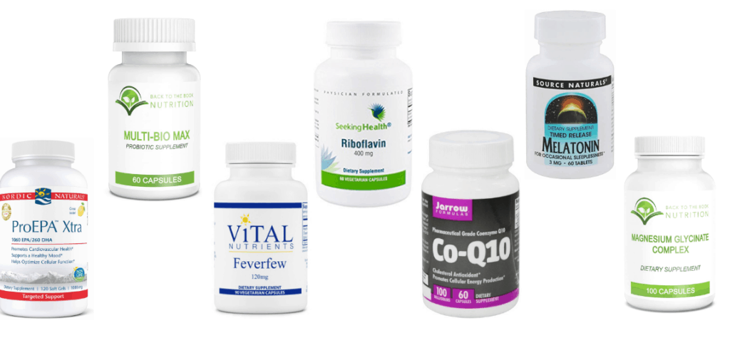 Collage of supplements for natural migraine relief