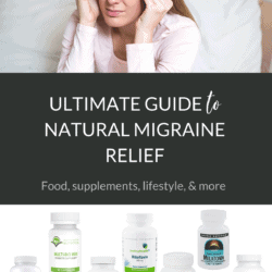 Collage of woman with migraine, migraine supplements, and article title text overlay