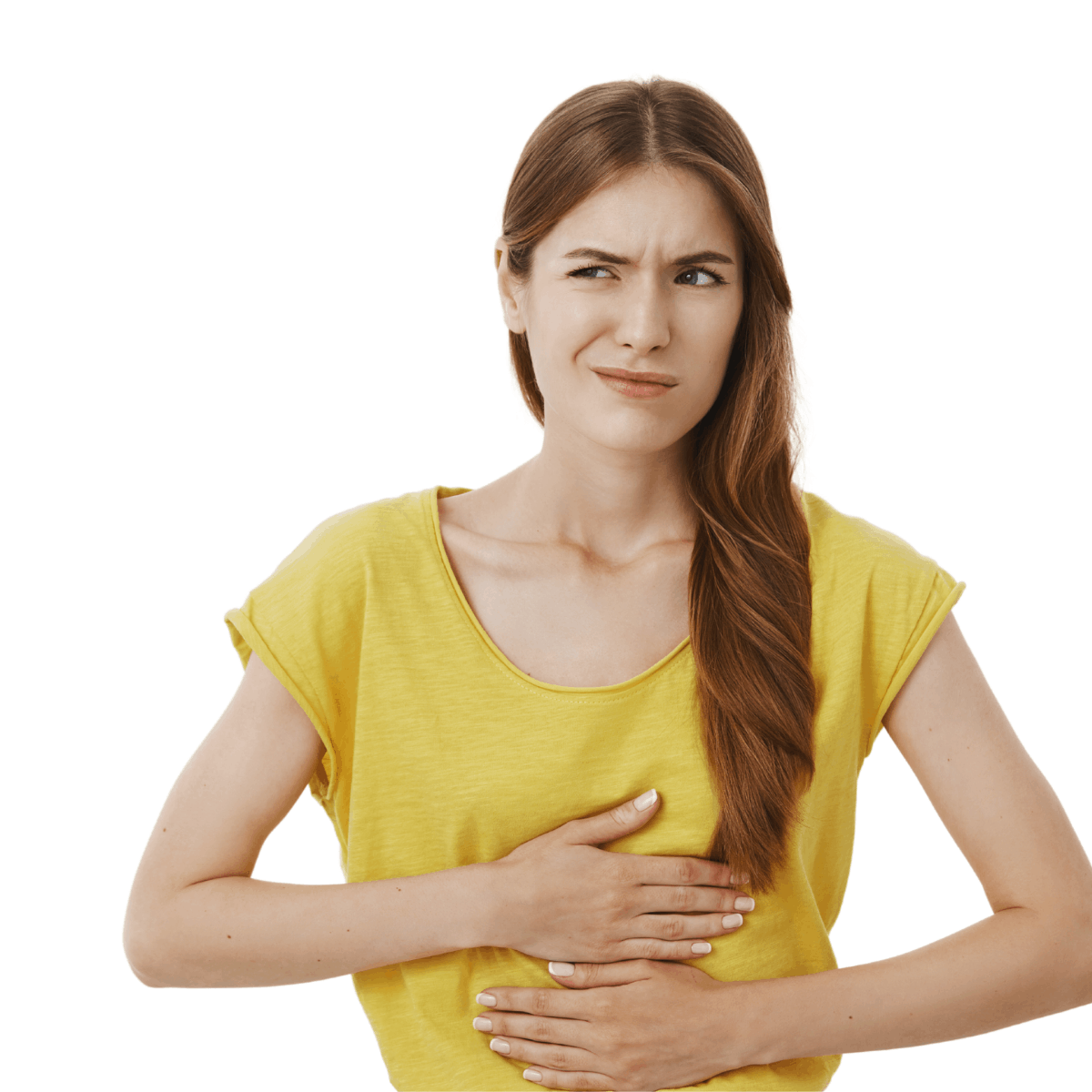 Brunette woman in yellow shirt with both hands over her stomach