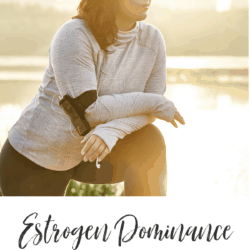 Collage - image of brunette woman stretching during her morning run and blog title text overlay