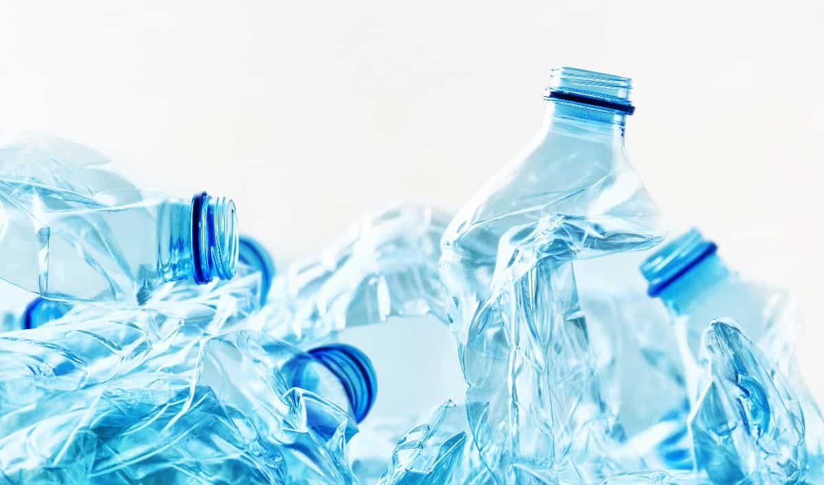Close up of a pile of empty plastic water bottles