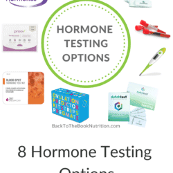 Collage of featured image with 8 types of hormone tests plus title text overlay