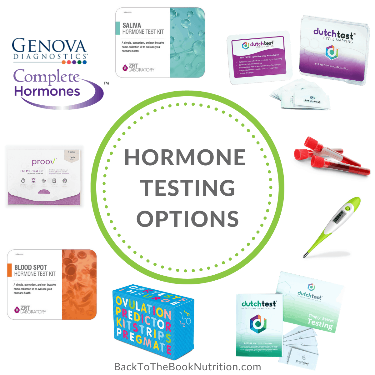 Collage of 8 different hormone testing options