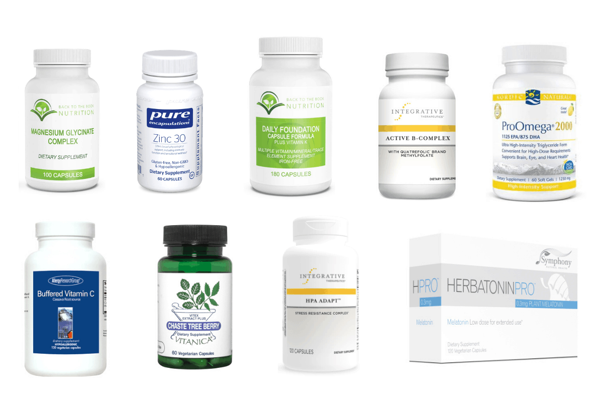 Collage of 9 supplements that help raise progesterone
