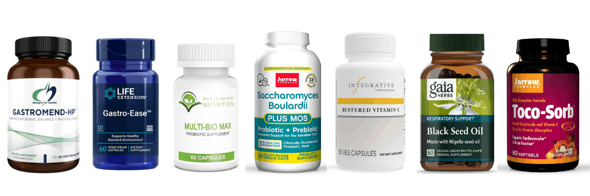 collage of dietary supplements for H. pylori