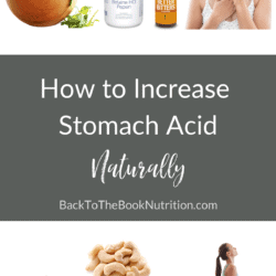 Collage of images of foods, supplements, and health behaviors that raise stomach acid naturally, plus title text overaly