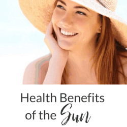 collage - beautiful brunette woman in sun hat on beach with title text overlay