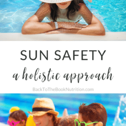 Collage with two images of healthy people enjoying the sun - one woman in a pool wearing a straw hat, and the other of a mom and her 3 kids in the pool - with title text overlay