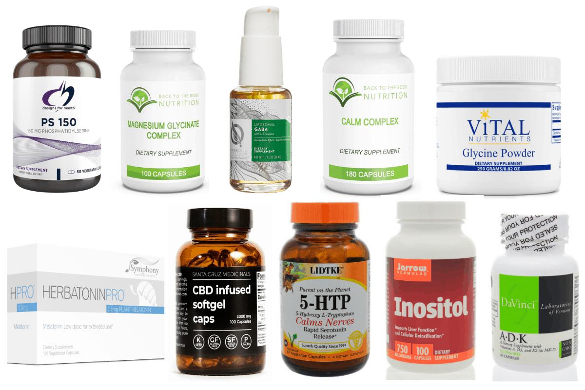 collage of common sleep supplements
