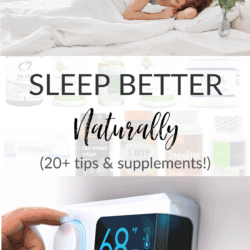 collage of tips and supplements to help you sleep better, with title text overlay