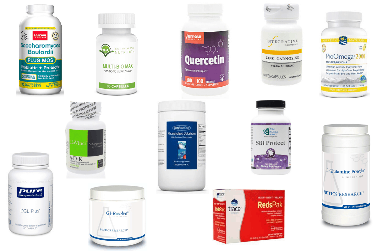 collage of common supplements used for Leaky Gut - glutamine, quercetin, colostrum, etc.